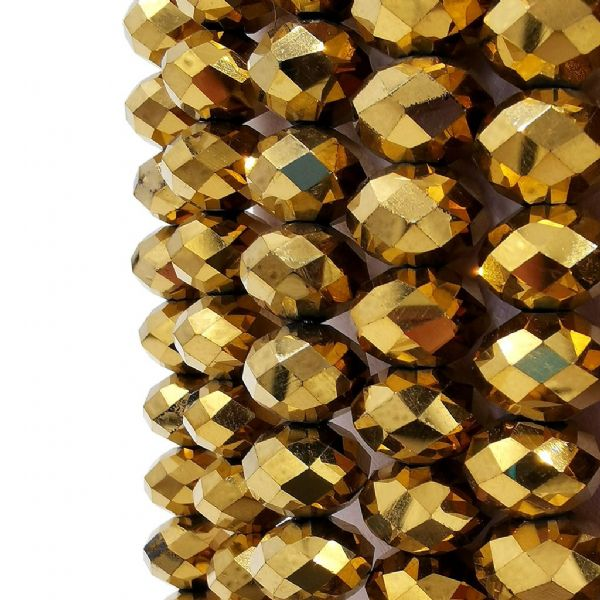 48 pcs x 16mm Glass Faceted Rondelle Metallic Gold